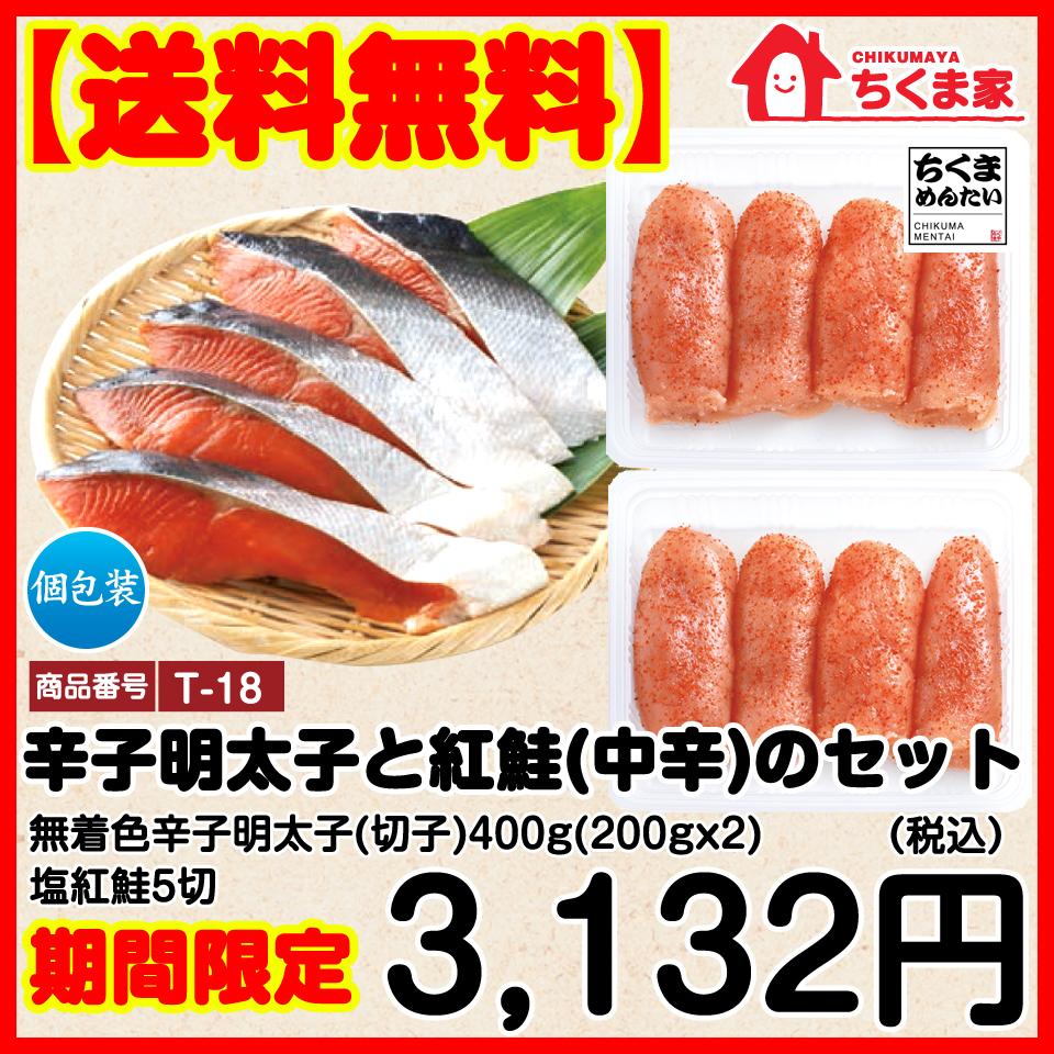 辛子明太子と紅鮭(中辛)のセット(無着色辛子明太子(切子)400g(200g×2)、塩紅鮭 5枚) 脂ののった魚を明太調味液に二日間漬込み